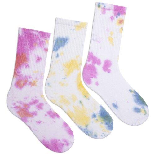 Комплект женских носков с принтом lunarable Тай-дай, белый, розовый, желтый, 3 пары