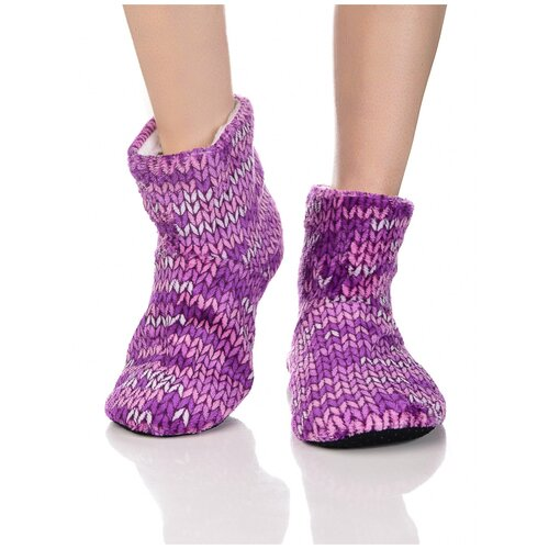 Плюшевые носки домашние с вязаным узором, противоскользящая подошва, внутренний подклад из искусственного меха, фиолетовый цвет, размер 35-37