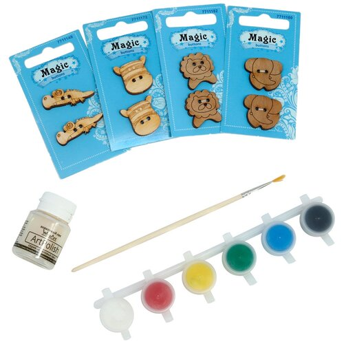 Купить Набор пуговиц для раскрашивания 'Африканские животные 2' (2-3см), с красками, Astra&Craft, Astra & Craft, Роспись предметов