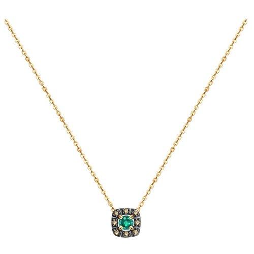 SOKOLOV Колье из золота с бриллиантами и изумрудом 3070009, 40 см, 1.45 г