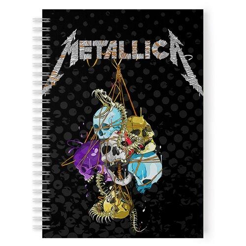 Купить Тетрадь 48 листов в клетку с рисунком Metallica Черепа цветные, Drabs, Тетради