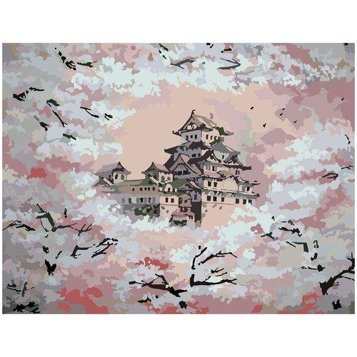 Купить Картина по номерам Дом в сакуре, 70 х 100 см, Красиво Красим, Картины по номерам и контурам