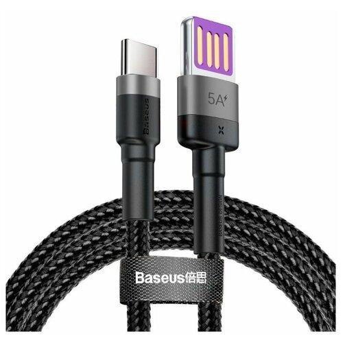 Кабель Baseus Cafule HW USB - USB Type-C (CATKLF) 1 м, серый/черный кабель type c baseus catklf a91 cafule cable usb for type c 3a 0 5м black red черный красный