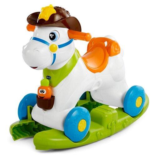 каталка ходунки chicco walky talky цвет оранжевый Каталка-качалка Chicco Baby Rodeo (79070) белый/зеленый/оранжевый/голубой