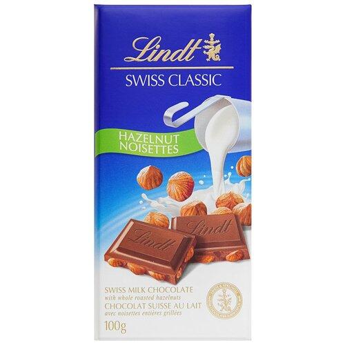 Фото - Шоколад Lindt Swiss Classic молочный с обжаренным цельным фундуком, 100 г шоколад dove 90г молочный с цельным фундуком одинцовская кф