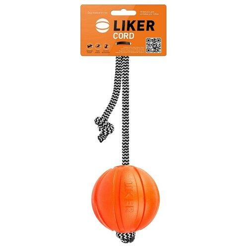 Мячик для собак LIKER Мячик Лайкер Корд на шнуре (6296) оранжевый