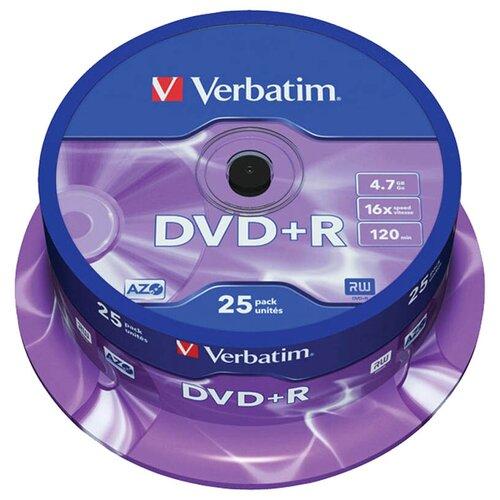 Диск DVD+R Verbatim 4.7Gb 16x AZO 25 шт. cake box