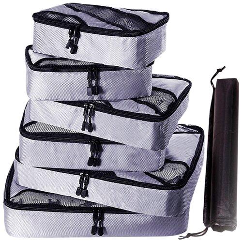 Набор органайзеров из водоотталкивающего материала для багажа, 6 шт, цвет серый
