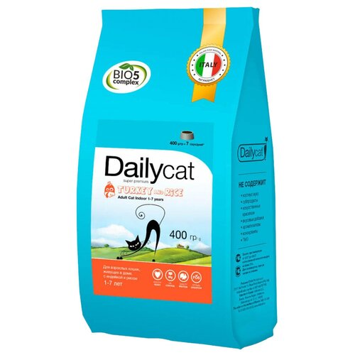 Сухой корм для кошек DailyCat для живущих в помещении, с индейкой 400 г