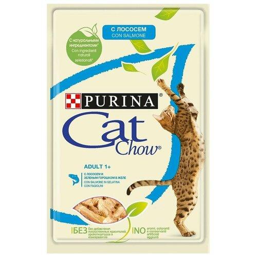 Фото - Влажный корм для кошек CAT CHOW с лососем, с зелёной фасолью 34 шт. х 85 г (кусочки в желе) влажный корм для кошек cat chow с ягненком с зелёной фасолью 34 шт х 85 г кусочки в желе