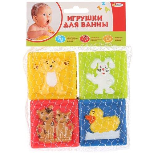 Купить Набор для ванной Играем вместе Кубики с животными (LXN-2-4) желтый/зеленый/красный/синий, Игрушки для ванной