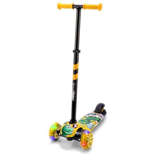 Фото - Детский кикборд Small Rider Turbo 2 Cartoons, желтый/зеленый дино кикборд small rider cosmic zoo scooter оранжевый