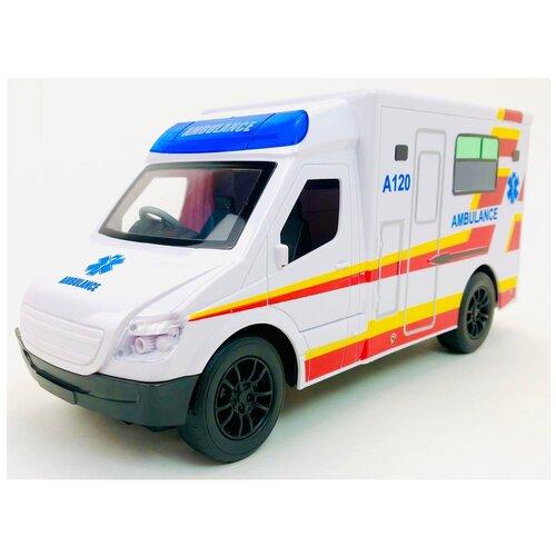Радиоуправляемая машина скорой помощи на пульте управления, светятся фары, звук сирены, работает от аккумулятора, открываются задние двери, режим без звука серены HK Industries 666-770A