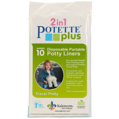 potette plus салфетки potette plus 2 в 1 my wipes 20 влажных и 10 сухих 100% органические салфетки бежевый Potette Plus сменные пакеты для дорожных горшков 10 шт. белый