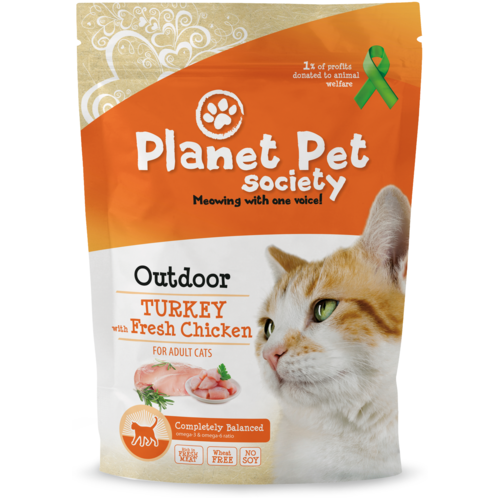 Сухой корм для кошек Planet Pet Society для живущих на улице, с курицей, с индейкой 1.5 кг