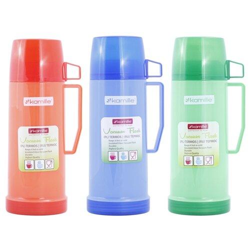 Термос 450мл пластиковый со стеклянной колбой (1 чашка; синий, зеленый, красный)