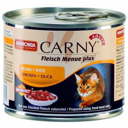 Влажный корм для кошек Animonda Carny Fleisch Menue plus беззерновой, с курицей, с уткой 200 г (паштет)