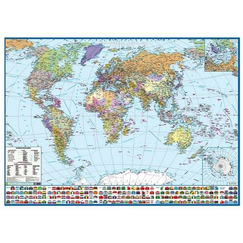 РУЗ Ко Политическая карта мира с флагами Крым в составе РФ (Кр191п), 96.4 × 69 см недорого