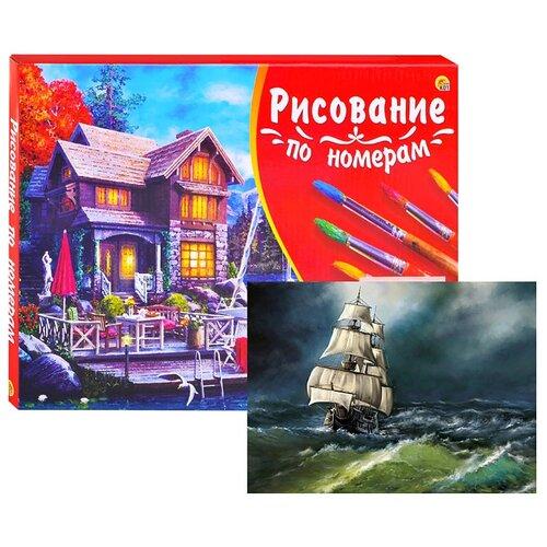 Холст с красками по номерам Рыжий кот Палитра, 40*50 см, Старый корабль в море (Х-3099)