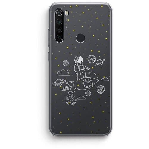 """Силиконовый чехол Xiaomi Redmi Note 8 / Сяоми Редми Нот 8 """"Космос"""" прозрачный"""