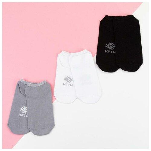 Носки Kaftan Классика, 3 пары, размер 23-25 см (37-39), серый/белый/черный