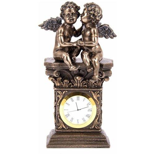 Часы настольные Русские Подарки Ангелочки, 227613, бронза, 11 х 7 х 20 см инструмент многофункциональный русские подарки в чехле 11 см