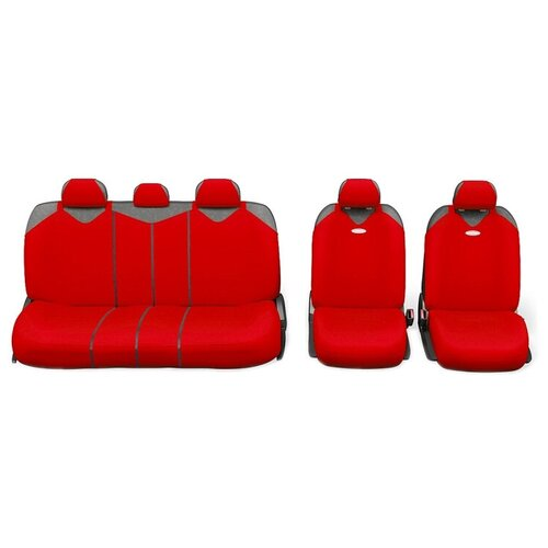 Комплект чехлов AUTOPROFI R-1 SPORT PLUS Zippers красный