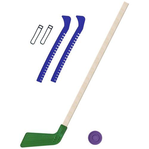 Набор зимний: Клюшка хоккейная зелёная 80 см.+шайба + Чехлы для коньков синие, Задира-плюс