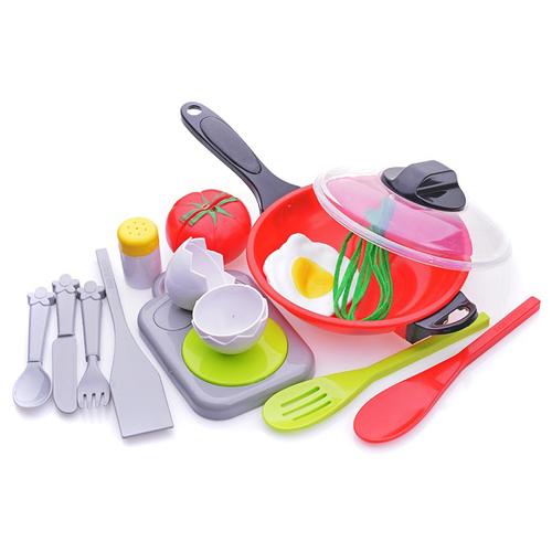 Набор продуктов с посудой S+S Toys Яичница с помидорами 200152562 красный/зеленый/серый