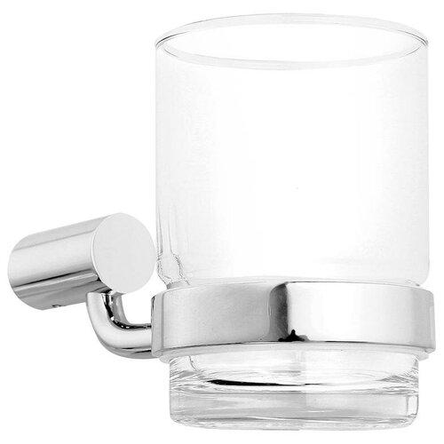 Стакан для зубных щеток IDDIS Renior L043, хром/прозрачный аксессуар для ванной iddis renior l043 подстаканник
