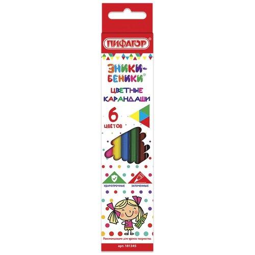 Пифагор Карандаши цветные Эники-беники 6 цветов (181345) карандаши цветные пифагор эники беники 12 цветов классические заточенные 181346
