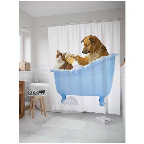 Фото - Штора для ванной JoyArty Кот и пес в ванной 180х200 (sc-15568) штора для ванной joyarty подарки для семьи 180х200 sc 78656