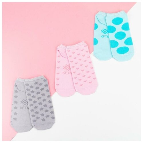 Носки Kaftan Геометрия 5189698, 3 пары, размер 23-25 см (37-39), голубой/розовый/серый