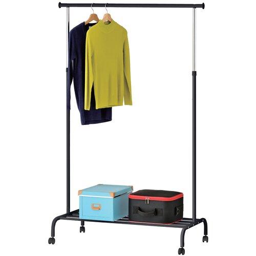Стойка UniStor PATRICK для одежды на колёсах и полкой для обуви. Напольная вешалка для одежды