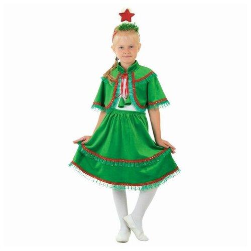 Купить Карнавальный костюм Ёлочка из плюша , юбка, пелерина, ободок со звездой, р-р 32, рост 128 см, Страна Карнавалия, Карнавальные костюмы