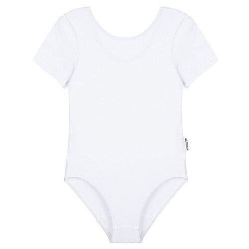 Купить Купальник гимнастический для девочек, ALIERA, Г 8.03, размер 122-128, белый, Купальники и плавки