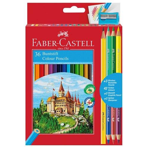 Faber-Castell Карандаши цветные 36 цветов + 3 + 1 чернографитный с точилкой (110336)
