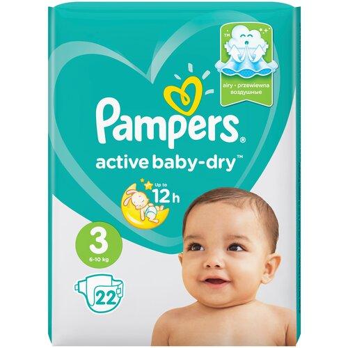Купить Pampers подгузники Active Baby-Dry 3 (6-10 кг), 22 шт., Подгузники