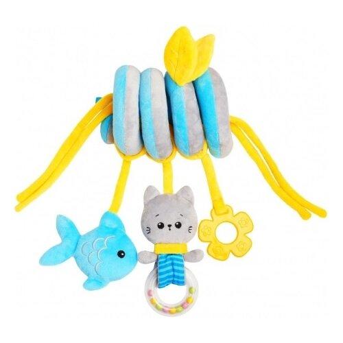 Купить Подвесная игрушка Мякиши Котенок Кекс (663) голубой/серый, Подвески