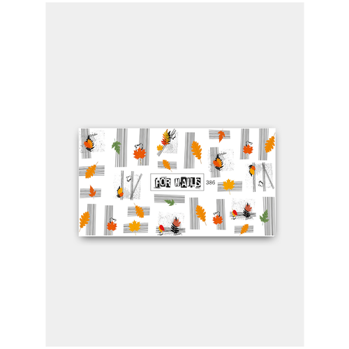 Купить Слайдер (водные наклейки) для дизайна ногтей FN386 Листья Осень, FOR NAILS