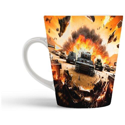 Кружка-латте CoolPodarok World of Tanks WoT Танки Ворлд оф тэнкс (летят куски железа)