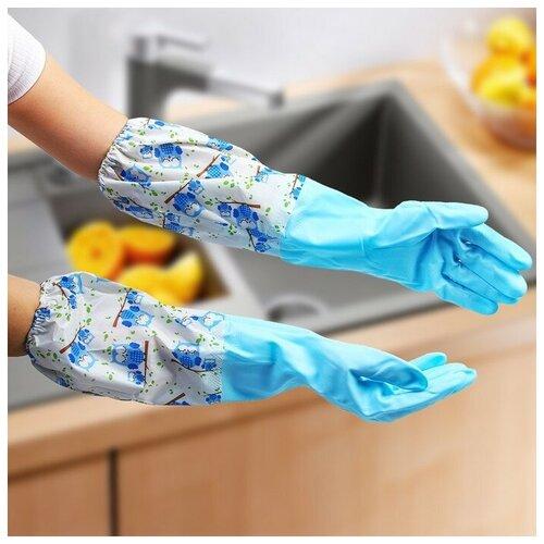 Перчатки хозяйственные с утеплителем. ПВХ. длинные манжеты. размер L. Совы 4575776