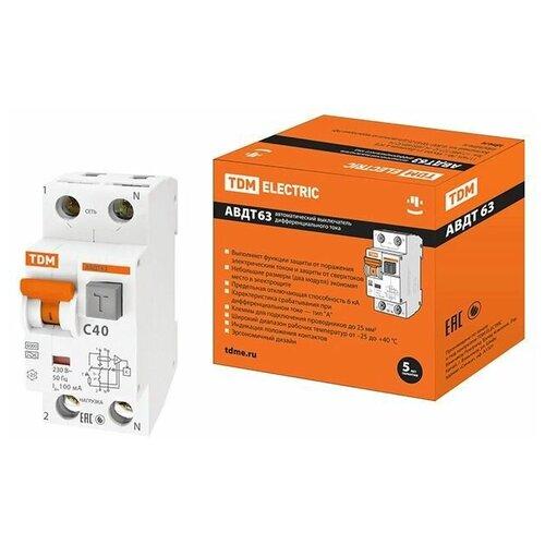 Фото - Выключатель дифференциальный автоматич. АВДТ-63/2Р C40 100мА тип А TDM (SQ0202-0008) автоматический выключатель дифференциального тока tdm electric sq0202 0006 авдт 63 c40 30 ма