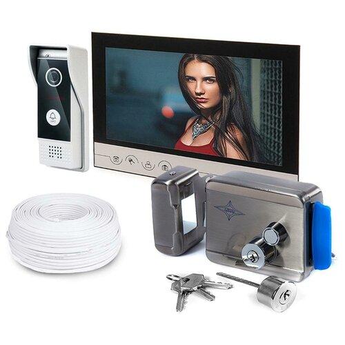 Набор (видеодомофон - замок) - Eplutus V90RM и AX-091, замок для домофона электромеханический, домофон электромеханический замок подарочная упаковка