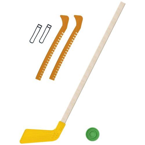 Набор зимний: Клюшка хоккейная жёлтая 80 см.+шайба + Чехлы для коньков желтые, Задира-плюс