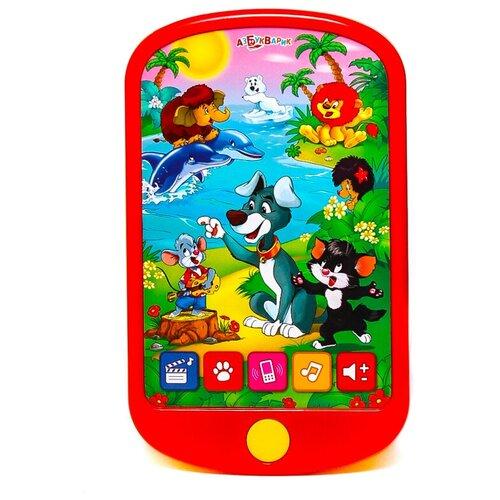 Купить Интерактивная развивающая игрушка Азбукварик Смартфончик Мои мультяшки , красный, Развивающие игрушки