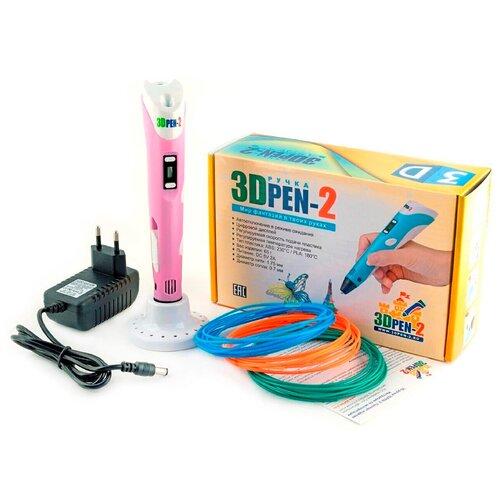 Детская 3D ручка / 3д ручка / 3d-ручка с инструкцией / ABS PLA пластик / 3DPEN набор с пластиком / Цвет розовый