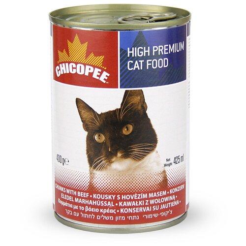 Влажный корм для кошек Chicopee с говядиной 400 г (кусочки в соусе)