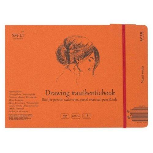 Альбом для смешанных техник Smiltainis Mixed media album Authentic 24.5 х 17.6 см, 200 г/м², 18 л., Альбомы для рисования  - купить со скидкой