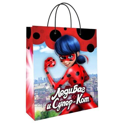 Пакет подарочный ND Play Леди Баг и Супер-Кот 33.5х40.6х15.5 см красный